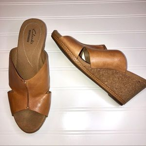 Clarks Collection Tan Leather Wedge Sandals 9